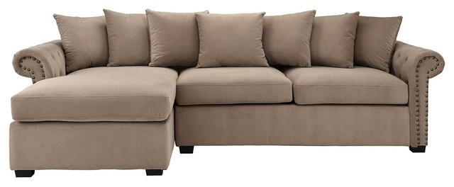 Traditional Modern L-Shape Sectional Sofa, Velvet Fabric, Brown