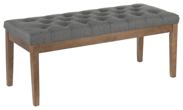 Jackson Contemporary Bench by LumiSource, Walnut Wood, Charcoal Fabric