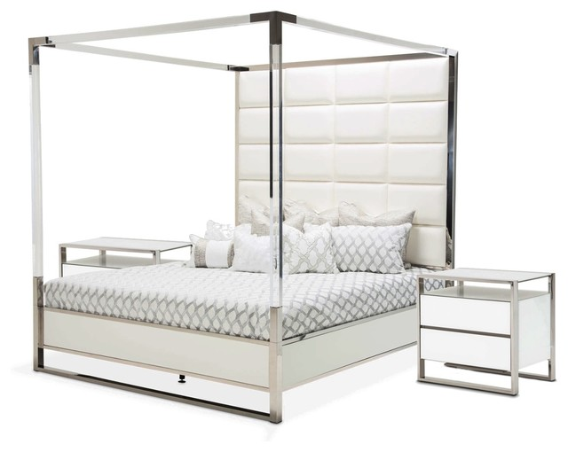 AICO State St. 3-PIece Metal Canopy Bedroom Set - Option 7, Queen