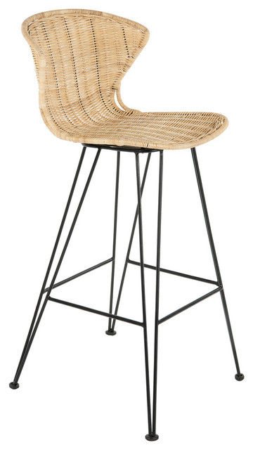 Outstanding Jaro Rattan Stool With Metal Legs Natural Black Bar Stool Cjindustries Chair Design For Home Cjindustriesco