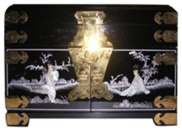 Black Lacquer Oriental Jewelry Box Inlaid With Mother Of Pearl Mirror And Silk