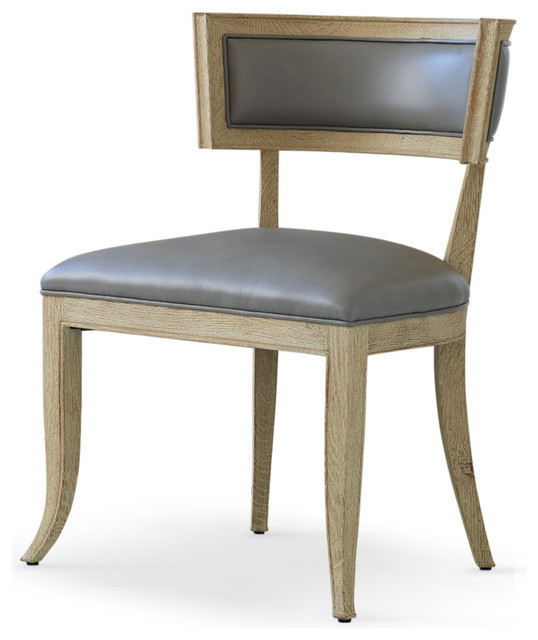 Minnelli Hollywood Regency Gray Leather Dining Chair Transitional Chairs