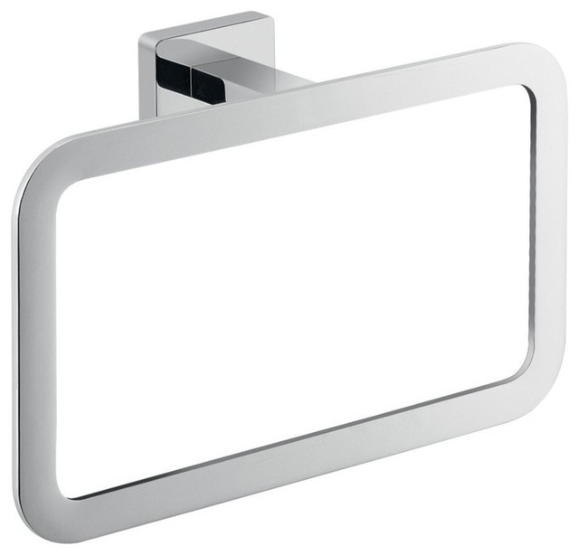 Square wall mounted polished chrome towel ring 4470 13 contemporary towel rings by for Chrome towel rings for bathrooms