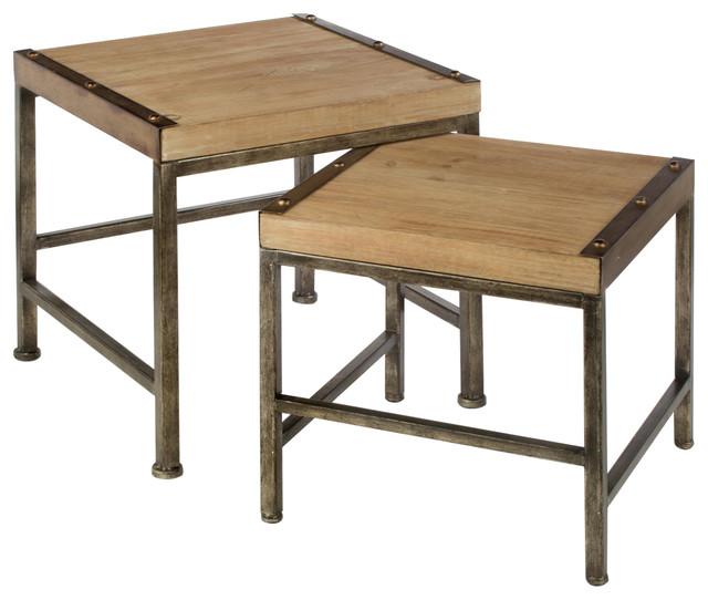Metal And Wood Table Stand Set Of 2 Transitional