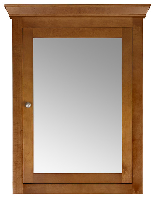 "Maria 27""x35"" Wood Medicine Cabinet With Mirror And Shelf, Natural Cherry."