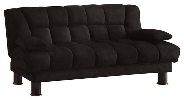 Microfiber Sofa Futon With Under Seat Storage Black