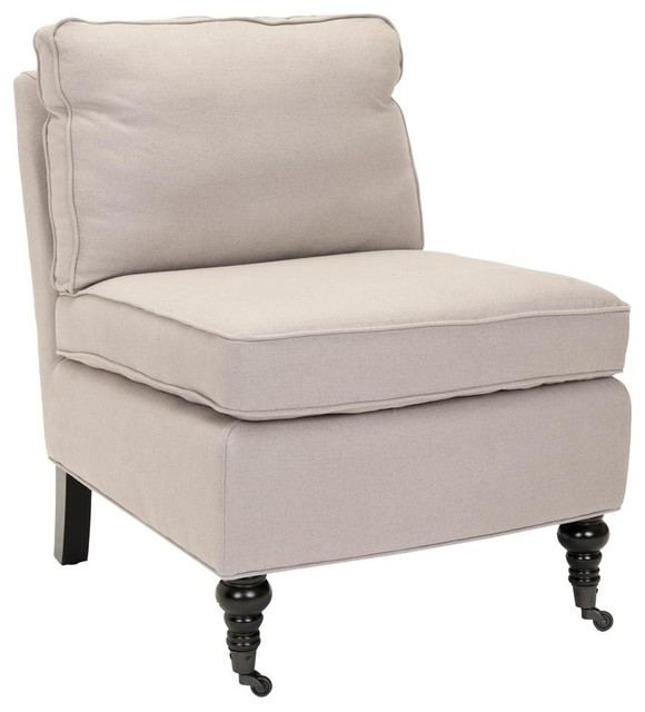 Zoey Armless Club Chair, Gray Traditional Armchairs And Accent Chairs