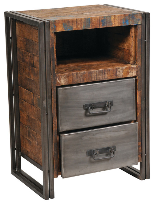 Reclaimed Wood And Metal 2 Drawer Cabinet