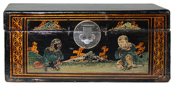 Consigned Hand Painted Vintage Chinese Jewelry Box Asian