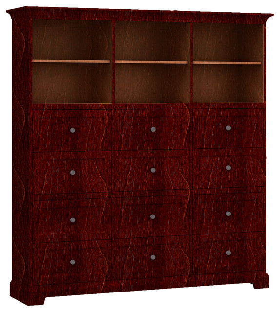 Howard Miller Custom Storage Cabinet 3-Shelves, 12-Drawers, Newport Cherry.