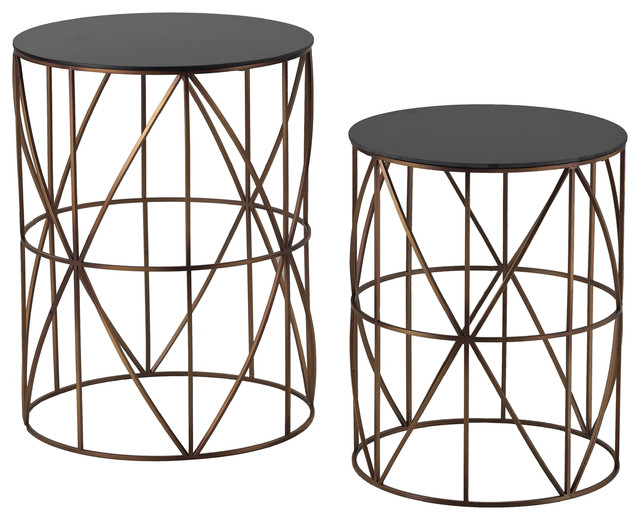 Set of two gold finish round metal accent tables for Round gold side table