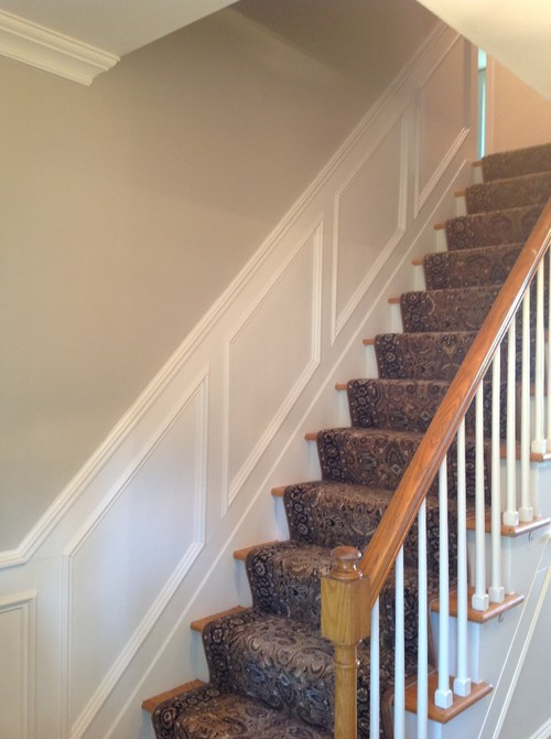 Foyer Paint Jobs : Paint job plus had moulding added to entryway stairs and