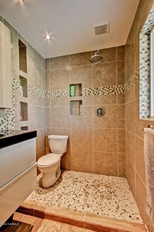 Good ... And Now The Toilet Is In The Shower. What Suggestions Would You Have To  Remedy The Situation? Close Proximity To Vanity, Would You Put A Half Tile  Wall?