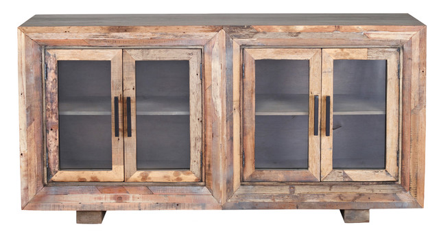 Hughes Sideboard, Natural Finish On Reclaimed Wood With Plain Glass, 4 Door