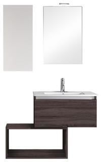 190cm Tall Modern White Gloss Bathroom Furniture Storage Cabinet Cupboard Unit