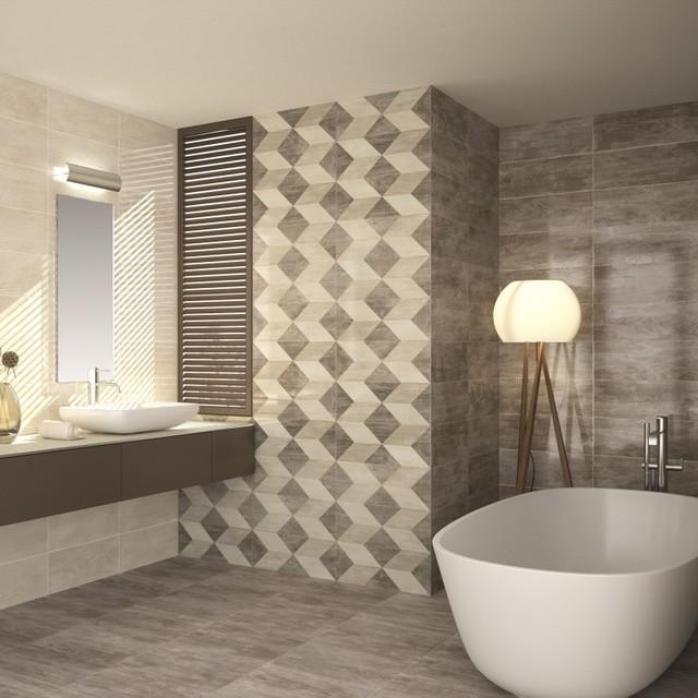 Colter Cream Wall Tiles   £11.65 Per Sq M Contemporary Bathroom