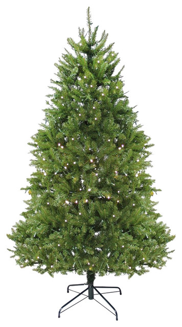 7.5' Pre-Lit Northern Pine Full Christmas Tree, LED Lights, Warm Clear