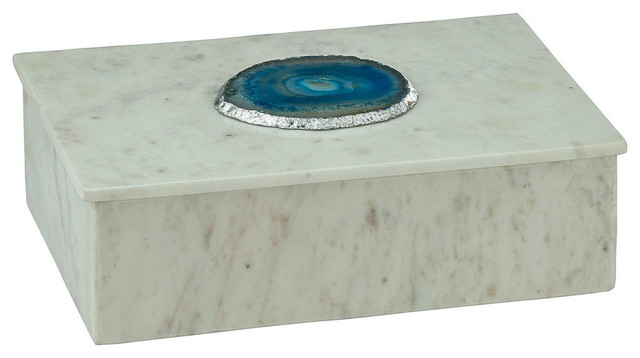 Antilles Box, White Marble And Blue Agate