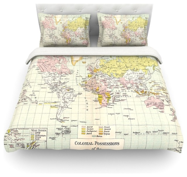 catherine holcombe travel world map duvet cover cotton