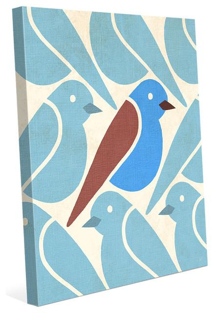 Mid Century Modern Birds Blue Wall Art Print 24 X30