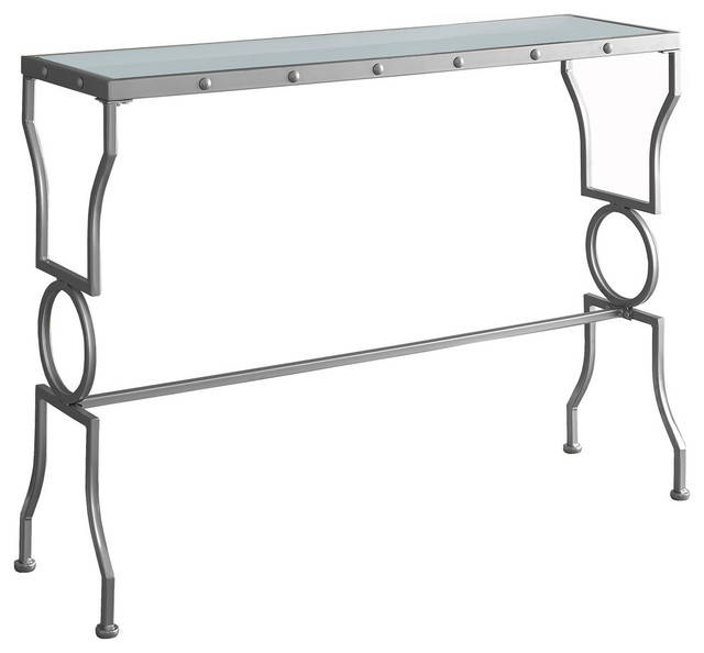Console Table With Tempered Glass, Satin Silver Transitional Console Tables