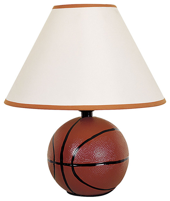 ceramic basketball table lamp brown u0026 off white