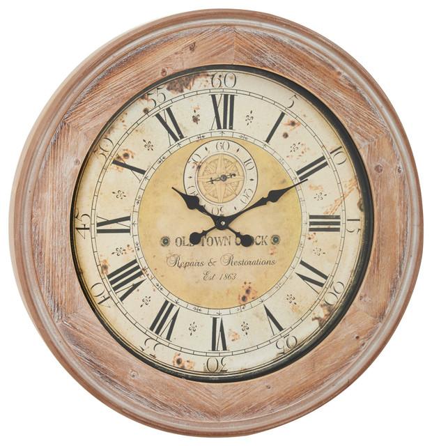 Oversized Round Antique Beige Wood Wall Clock With Whitewash Finish