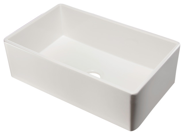 ALFI brand AB533-W 33 Inch Smooth White Single Bowl Fireclay Farm Sink