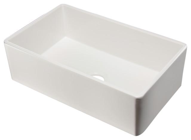 Alfi Brand 33 White Smooth Single Bowl Fireclay Farm Sink