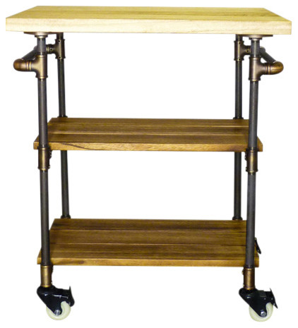 OS Home and Office 3-Tier Kitchen Serving Bar Cart/Island Metal Reclaimed  Wood