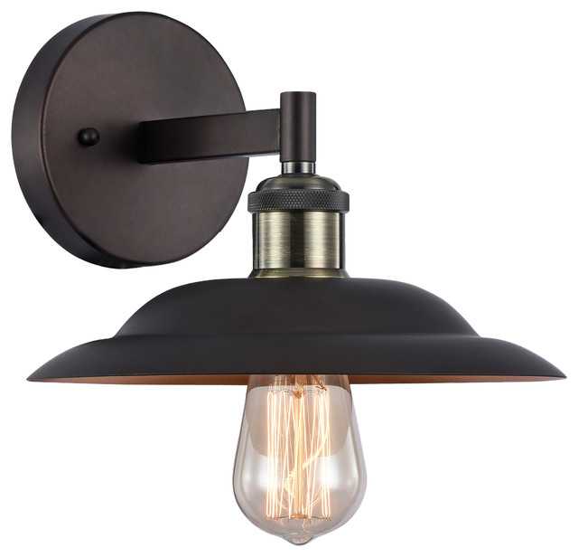 Wall Sconces Industrial : 1-Light Wall Sconce, Rubbed Bronze - Industrial - Wall Sconces - by CHLOE Lighting, Inc.