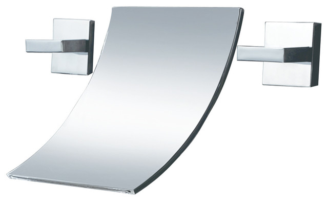 7 Faucet Finishes For Fabulous Bathrooms: Bathroom Waterfall Style Wall-Mount Sink Faucet
