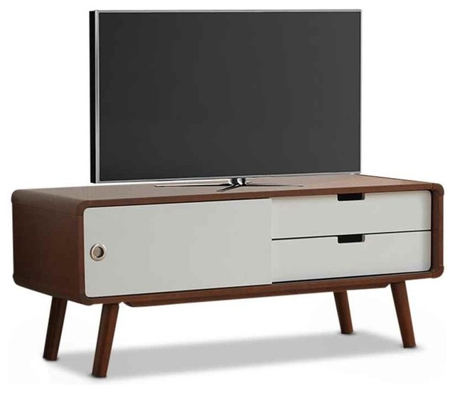 Armani Mid-Century Modern TV Cabinet, Dark Walnut And
