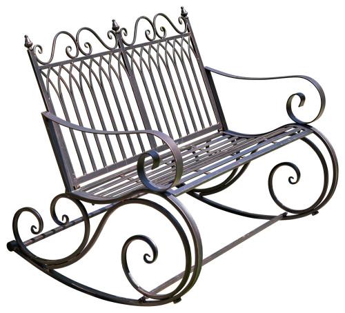 "Iron Rocking Garden Bench ""Tatiana"", Antique Bronze"