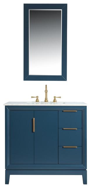 """Gerrell 60 Single Bathroom Vanity Set Blue: Elizabeth 36"""" Single Sink Carrara White Marble Vanity"""