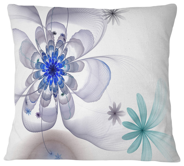 Blue And Gray Symmetrical Fractal Flower Floral Throw Pillow Contemporary Decorative Pillows By Design Art Usa