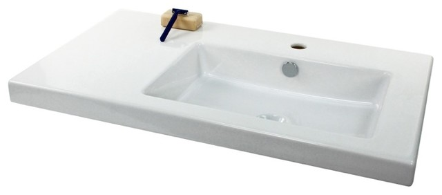 Luxury Wall Mounted Or Built In White Ceramic Sink No Faucet Hole