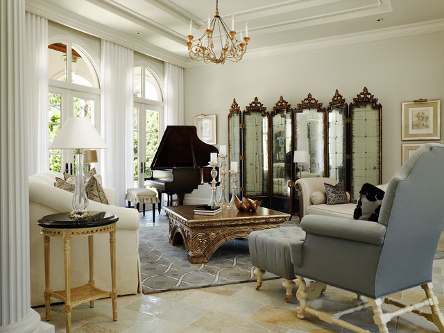 Old palm traditional french chateau mediterranean family room