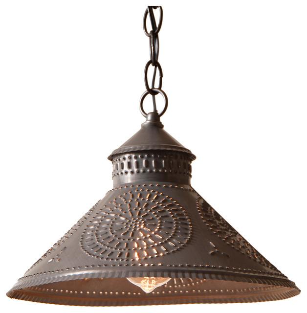 Stockbridge Shade Light Pendant With Chisel, Blackened Punched Tin.