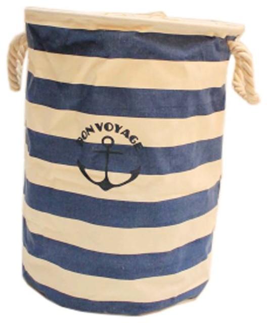 The Navy Style Foldable Large Laundry Basket Hamper Storage,dark Blue Anchor.