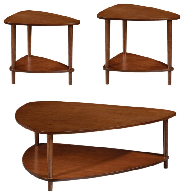 3 Pc Contemporary Walnut Wood Coffee Table Set With Bottom
