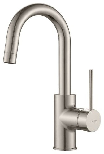 KRAUS Spot Free Oletto Single Handle Kitchen Bar Faucet, Stainless Steel