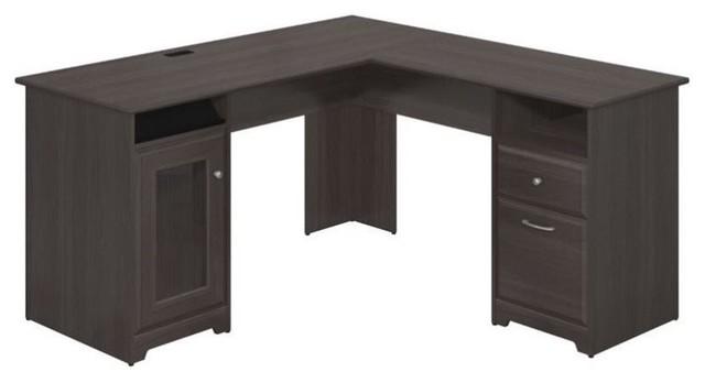 "Cabot L Shaped Desk With Hutch: Bush Cabot 60"" L-Shape Desk In Heather Gray"