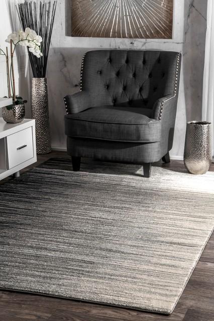 Striped Ombre Area Rug, Black, 9'x12'