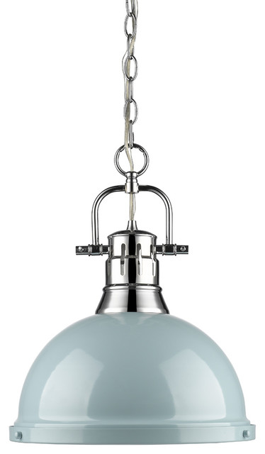 Duncan 1-Light Chain Pendant, Chrome, Seafoam Shade