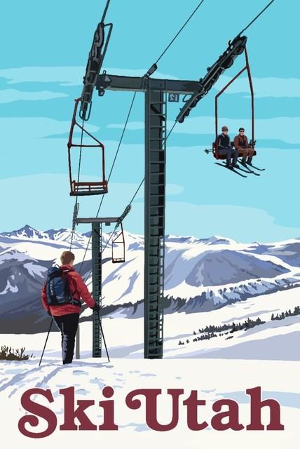 """ski Utah, Ski Lift Day Scene"" Print, 24""x36""."