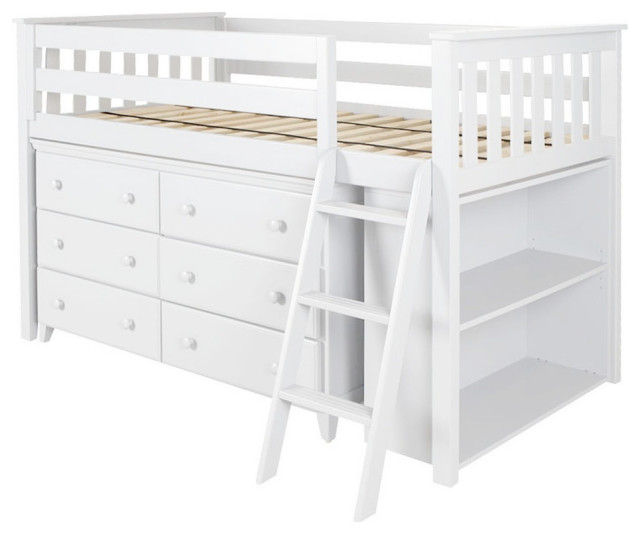 Chelsea Twin Low Loft Bed With Storage Transitional Kids Beds