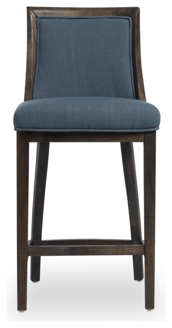 Superb Reclaimed Dark Grey Oak Finish Navy Linen Counter Stool Gmtry Best Dining Table And Chair Ideas Images Gmtryco