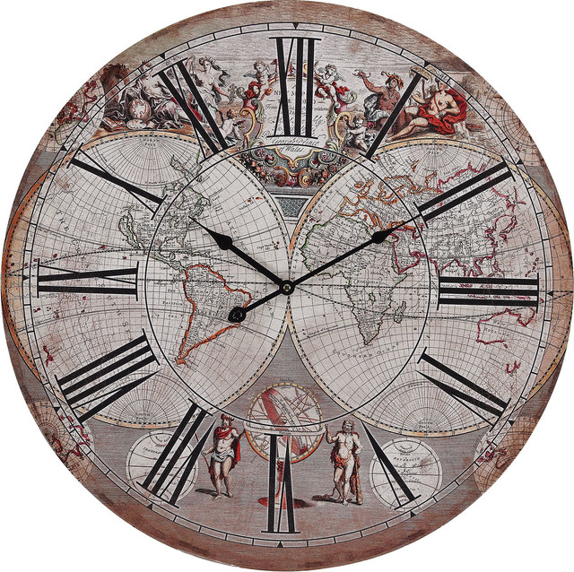 sterling industries renaissance style printed map clock