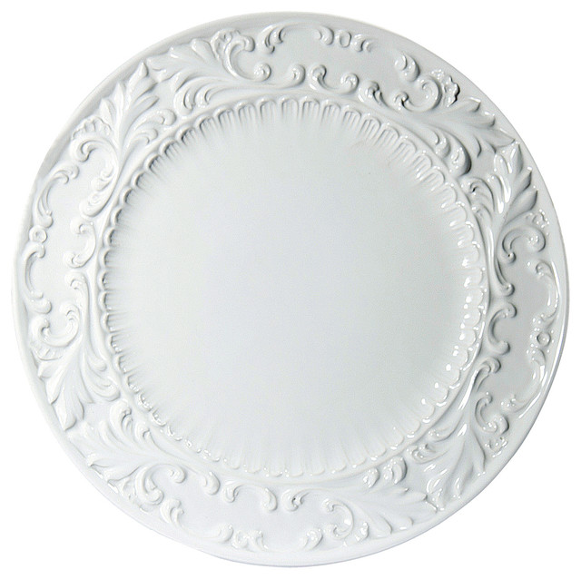 Baroque White Round Platter 15 75 Traditional Serving Dishes And Platters By Intrada Italy